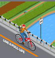 disabled person on bicycle isometric vector image vector image