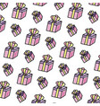 doodle present gift box with crown accessory vector image vector image