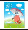 easter bunny poster with basket-03 vector image vector image