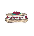 eclair with raspberry sketch vector image