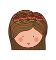face woman and crown of roses in medium hair vector image