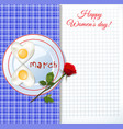 fried eggs on plate with ketchup letters 8 march vector image