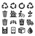 Garbage and recycling related icons set on white