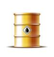 golden metal oil barrel with black oil drop vector image vector image