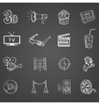 Hand drawn cinema icon set vector image