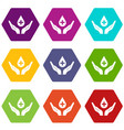 hands holding blood drop icon set color hexahedron vector image vector image
