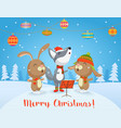 happy christmas card with cute wolf vector image vector image