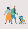 happy parents walking with their little childrens vector image