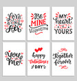 happy valentines day typography set vector image