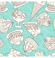 holiday seamless pattern from sweet cakes vector image