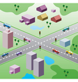 houses and cars on road vector image vector image