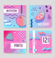 invitation cards in geometric trendy memphis style vector image vector image