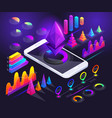 isometric holographic diagrams graphs finance vector image vector image