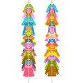 kids clothes on long vertical hanger rack vector image