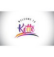 kotte welcome to message in purple vibrant modern vector image vector image