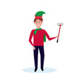 man holding selfie stick wearing elf hat happy new vector image