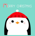 merry christmas penguin head face red hat happy vector image