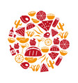 mexican food theme set of simple icons in circle vector image vector image
