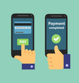 mobile bank transferpayment with mobile vector image