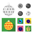 new year toys monochromeflat icons in set vector image vector image