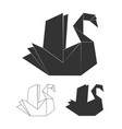 paper origami swan on white background vector image vector image
