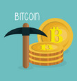 pile bitcoins with pick vector image vector image