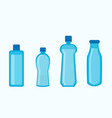 plastic water bottles collection in blue color vector image