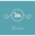 Platter cloch chef hat crown and round frame vector image vector image