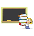 School Girl Carrying Books vector image