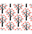 seamless pattern with abstract heart tree vector image