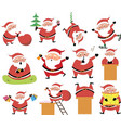 set cartoon santa isolated vector image