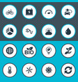 set of simple green icons vector image vector image