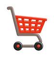 shopping cart on white background supermarket vector image vector image