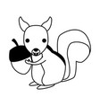 squirrel wild animal on black and white vector image vector image