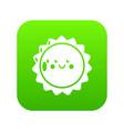 sun icon green vector image