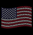 waving united states flag stylization of spectre vector image vector image
