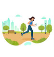 woman is jogging in city park and listening to vector image