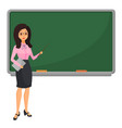 young female teacher near blackboard teaching vector image vector image