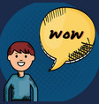 young man and speech bubble with wow messague vector image vector image