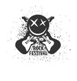 rock festival monochrome logotype with electric vector image