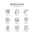 Set line icons of services vector image