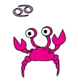 Zodiac Cancer cartoon style funny vector image