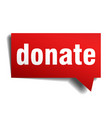 donate red 3d realistic paper speech bubble vector image