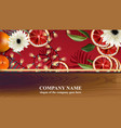 christmas card with red orange slices and lights vector image