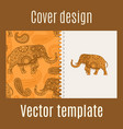 cover design with indian elephant pattern vector image