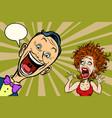 joyful man and scared woman vector image