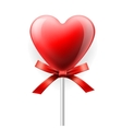 Red heart-lollipop isolated on white vector image