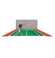 A boy playing tennis at the court vector image vector image
