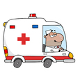 African American Doctor Driving Ambulance vector image vector image
