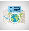 airline ticket map travel world global vector image vector image